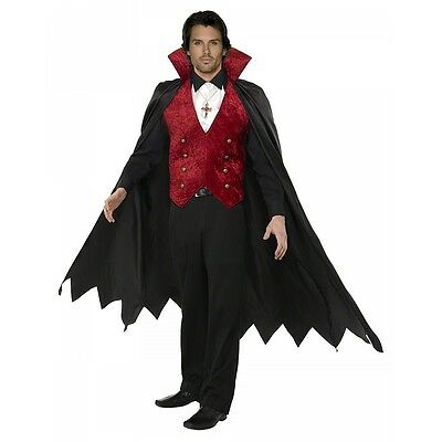 Dracula Costume Adult Mens Vampire Halloween Fancy Dress Outfit