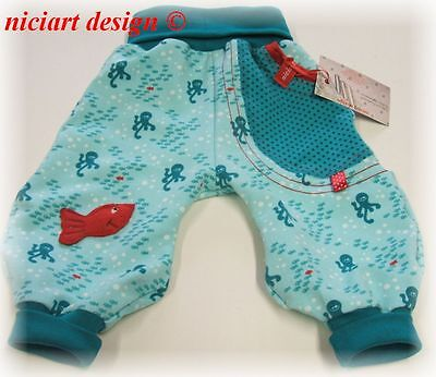 NICIART DESIGN ♥ SWEAT HOSE ♥ BABY PUMPHOSE 50 56 62 68 74 80 86 92 98♥red fish