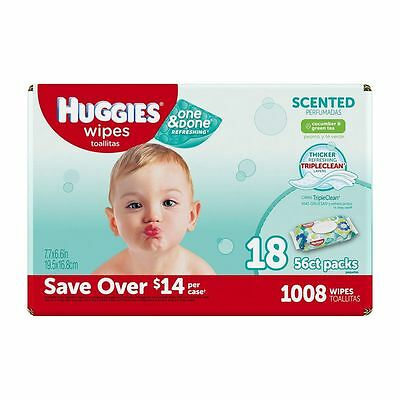Huggies One & Done Refreshing Green Tea Scent Triple Clean 1008ct FREE SHIP
