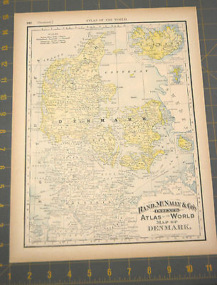 Denmark Antique Map from Rand McNally Printed 1893 14x10 122 Years Old