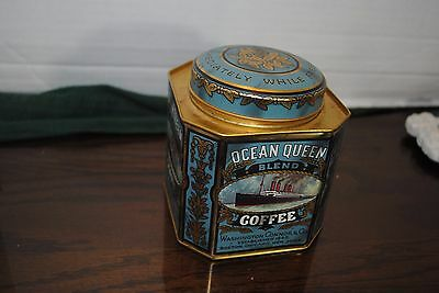 VTG Original Ocean Queen Blend Coffee Lithographed Tin Plate Caddy Box