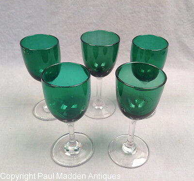 Antique Set of 5 Blown Wine Glasses