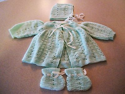 Baby Crochet Knit Sweater, Bonnet and Booties set