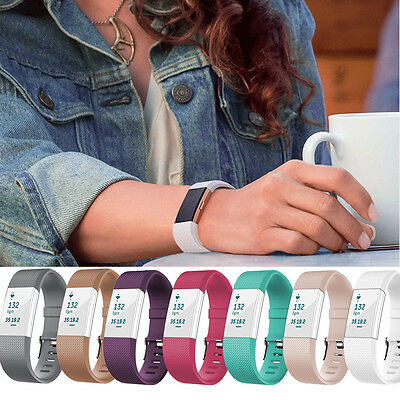 Sport Silicone Anti off Accessory Wrist Band Strap Bracelet For Fitbit Charge 2
