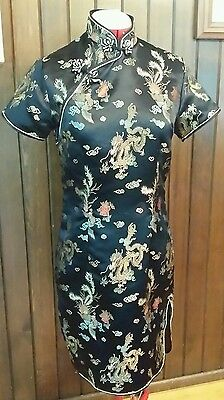 Chinese Cheongsam Sm Dress Quipao Embroidered Black Rayon Dragon Phoenix Size 36