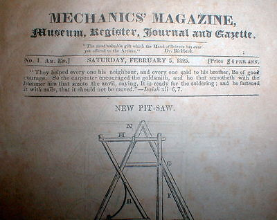 1825 MECHANICS MAGAZINE New York City #1 issue - Similar to SCIENTIFIC AMERICAN