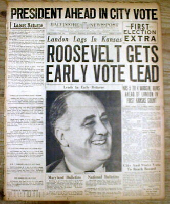 2 1936 headline newspapers FRANKLIN D ROOSEVELT Re-Elected PRESIDENT of the US