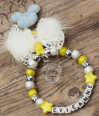 Personalised stunning pram charm in yellow for baby girls and boys other colou