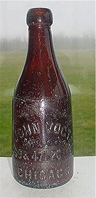 JOHN VOGT 469 & 471 26th ST. CHICAGO (ILLINOIS)-AMBER BLOB TOP BEER BOTTLE
