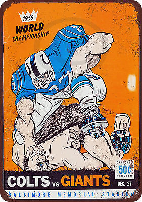 1959 Colts vs. Giants Championship Vintage Look Reproduction Metal Sign