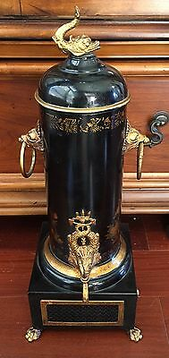 English Regency style Black Lacquer Chinoiserie Deco Tole Metal Samovar Signed