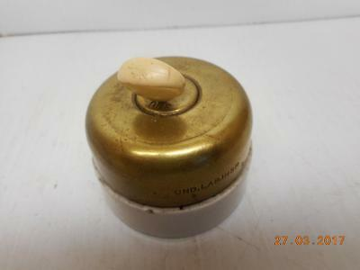 Vintage/Antique Hubbell brass and porcelain On/Off toggle light switch Steampunk