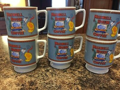"6 vintage cups Maxwell House Coffee 3 1/4"" tall advertising"