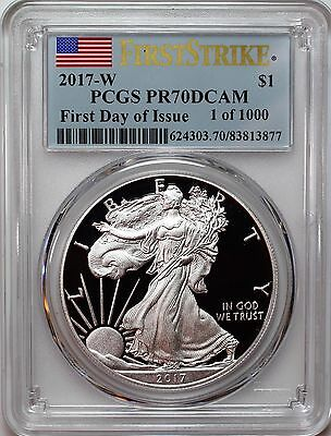 2017 W Proof Silver Eagle PCGS PR70 DCAM First Day of Issue 1 of 1000 Flag Label