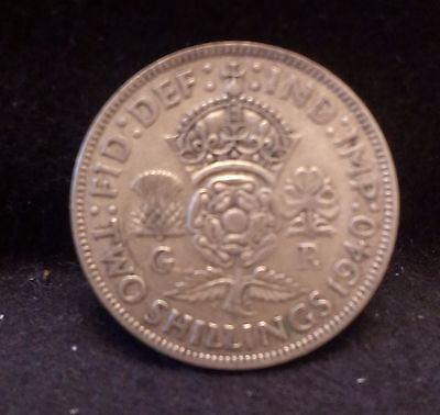 1940 Great Britain silver florin, George VI, early WWII mintage, KM-855 (GB5)
