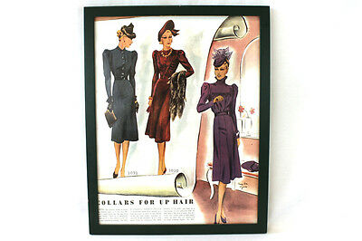 "Framed Vintage Pattern Fashion Ad ""Collars For Up Hair"" Sewing Room Decor"