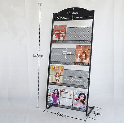 NEW Multi-Layers Magazine Stands Brochure Display Holder Rack Office Home Black