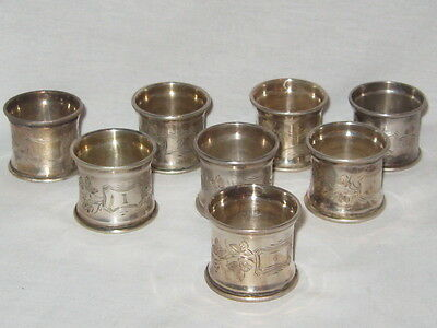 Collection Of 8 Antique Victorian Silverplate Engraved Napkin Rings