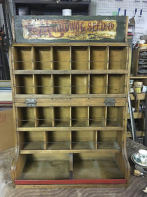 Antique Manitowoc Seed Co. Wisconsin Painted Fold Wood Advertising Seed Display