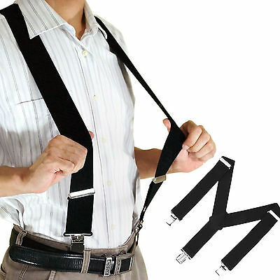 Men Women Clip-on Suspenders Elastic Y-Shape Adjustable Braces Solids Straps USA