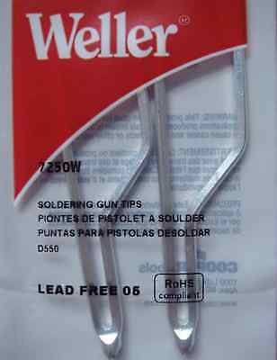 Weller 7250W Standard Soldering tips 2/per pack for D550 and D650 soldering gun