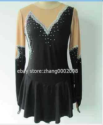 Ice skating dress.Black Competition Figure Skating dress. Baton Twirling custom.