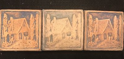 Lot of Three Vintage California Art Tile Co TIles Unglazed Cottage in Woods