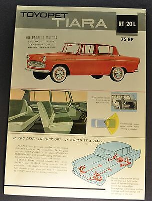 1961 Toyota Toyopet Tiara Sales Brochure Sheet Excellent Original 61