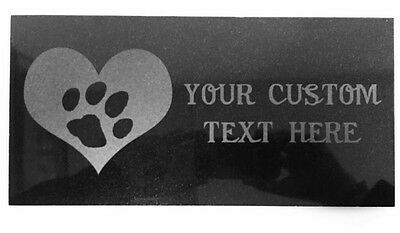 Customized 3D Laser Engraved Black Granite Memorial Marker 12 x 6 inches Paw