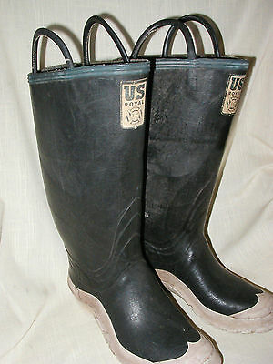 Vtg US ROYAL OFFICIAL FIRE FIGHTING BOOTS Rubber Felt Lined NICE Size 8 FIREMAN
