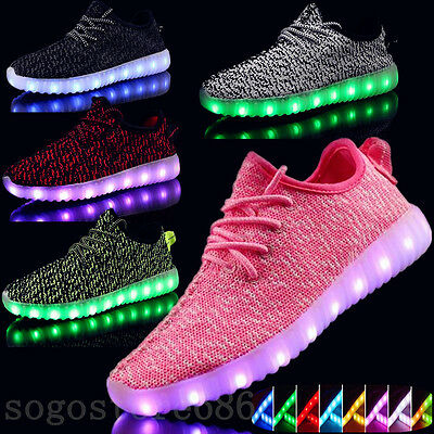 7 LED Light USB Lace Up Unisex Luminous Light Shoes Sportswear Casual Sneakers