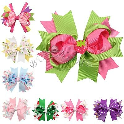 8PCS Baby Girls Big Hair Bows Boutique Alligator Clip Grosgrain Ribbon Headband