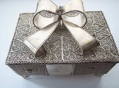 Sterling Silver Filigree Jewelry Box Hand Made - VERY HEAVY - 938 grams  Unique!