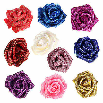 7pc Glitter Flower Foam Rose Heads Sparkling Flower For Wedding Party Decoration