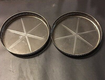 Lot Of 2: STERLING SILVER STAR CUT CRYSTAL COASTERS STACKING VINTAGE ANTIQUE