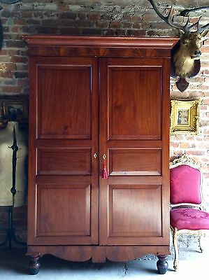 Gorgeous Antique Double Wardrobe Armoire Mahogany Victorian 19th Century Tall