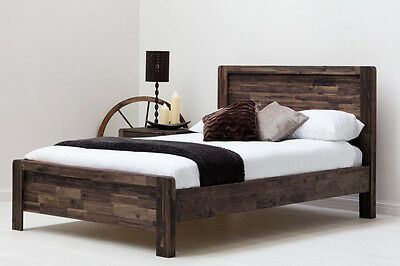 Modern Solid Wooden Bed Frame Handmade Dark Wood Teak Double King Size