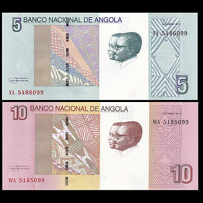 Angola SET 2 PCS, 5+10 Kwanzas, 2012(2017), P-NEW, UNC