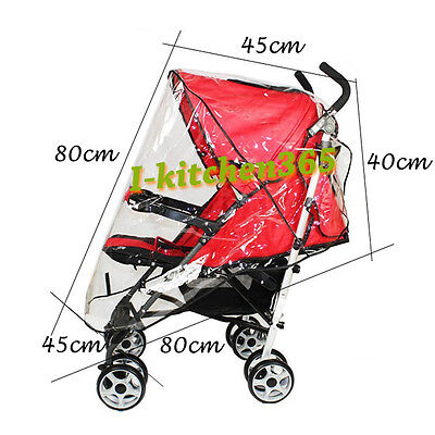 Waterproof Snow Rain Cover Baby Stroller Pram Pushchair Buggy Clear See Through