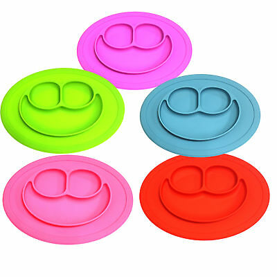 Child Kid's Silicone Placemat Food Plate Mat Baby Toddler Divided Bowl HAPY