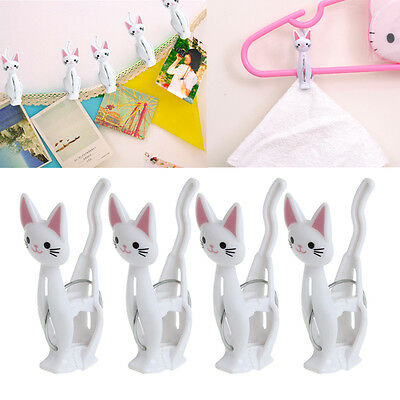 4 Pcs Plastic Lovely Cat Spring Clothes Hanging Laundry Clips Silver Clamps