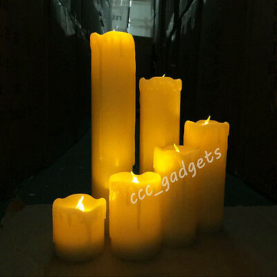 Set Of 6 Battery Operated Led Warm White Flickering Flameless Wax Candle Lights