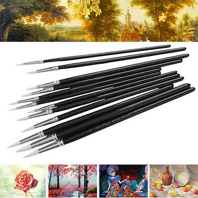 12pcs Wooden Handle Artist Painting Brushes Watercolor Graffiti Drawing Toys OZ