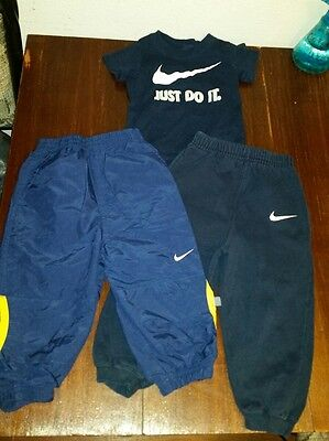 NIKE Infant Baby Boys Size 24 mo & 2T Pant Pants Blue Lot Set of 3 EUC ***