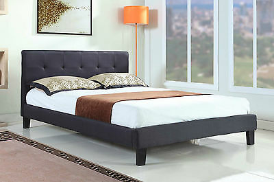 Modern Stylish Black Fabric Upholstered Bed Frame King Size + Mattress Options