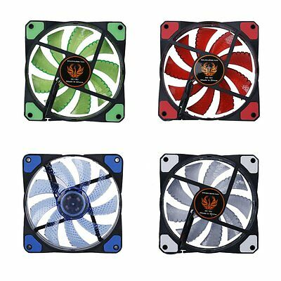 120mm LED Ultra Silent Computer PC Case Fan 15 LEDs 12V Easy Installed Pr GL