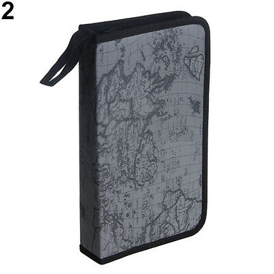 Gray Map Pattern CD VCD DVD 80Disc Storage Holder Case PVC Bag Organizer Welcome