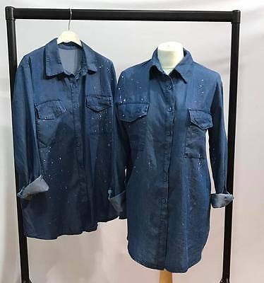 Wholesale Joblot Ladies Women's  Top Shirt Denim Shirts Blue 6 Pcs 1 size