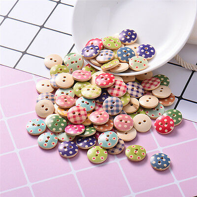 100 PCS/Pack Funny Kids DIY Colored Drawing Dotted 2 Holes Wooden Buttons