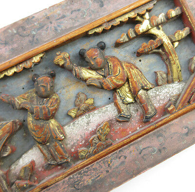 Antique 19th c Chinese Carved Wooden Panel Plaque